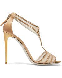 Giorgio Armani - Crystal-embellished Satin And Mesh Sandals - Lyst