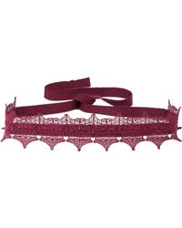 Anna Sui - Woman Metallic Lace And Grosgrain Choker Plum Size -- - Lyst