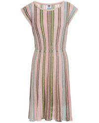 M Missoni Metallic Striped Crochet-knit Mini Dress Baby Pink