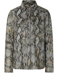 Stand Studio Idit Snake-effect Leather Shirt Animal Print - Multicolour