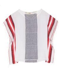 lemlem Lula Striped Cotton-blend Gauze Poncho - Red