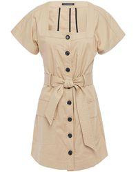 Marissa Webb Tyler Belted Stretch-cotton Canvas Mini Dress Beige - Natural