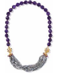 Bounkit - Gold-tone Beaded Necklace Dark Purple - Lyst