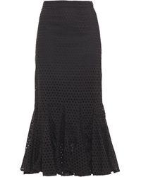 RHODE Sienna Fluted Broderie Anglaise Cotton Midi Skirt - Black