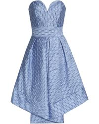 MILLY - Strapless Pleated Cloqué Dress - Lyst
