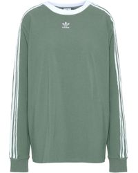 adidas Originals - Woman Embroidered French Terry Hooded Jacket Sage Green - Lyst
