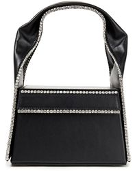 Area Lunch Box Crystal-embellished Leather Tote - Black