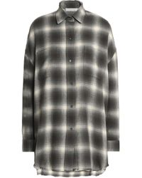 Vince - Checked Cotton And Wool-blend Flannel Shirt Grey Green - Lyst