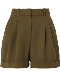 Racil City Pleated Wool-twill Shorts Army Green