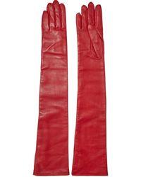 Lanvin Leather Gloves Crimson - Red