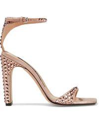 Sergio Rossi - Crystal-embellished Metallic Suede Sandals - Lyst