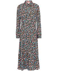 Paul Smith Floral-print Stretch-crepe Midi Shirt Dress - Black
