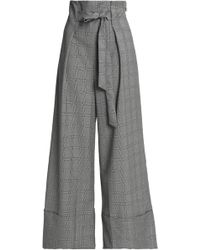 Paper London Twin Tie-front Prince Of Wales Checked Wool-blend Wide-leg Pants Gray