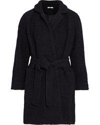 Ganni Fenn Belted Wool-blend Bouclé Coat Black