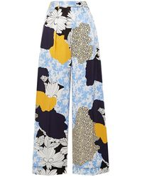 By Malene Birger Enil Printed Satin Wide-leg Pants Light Blue