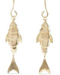 Noir Jewelry - Hook, Line And Sinker 14-karat Gold-plated Earrings Gold - Lyst
