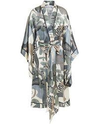 Carine Gilson Printed Silk-satin Robe - Multicolour