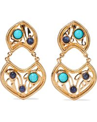 Ben-Amun 24-karat Gold-plated, Turquoise And Stone Clip Earrings Turquoise - Multicolour