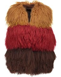 Anna Sui Color-block Shearling And Suede Vest - Multicolor