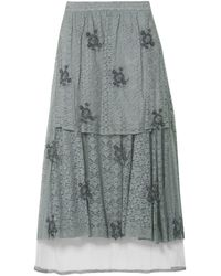 Stella McCartney Layered Embellished Lace And Tulle Maxi Skirt Gray