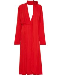 Victoria Beckham Floral Appliquéd Tie-neck Pleated Crepe De Chine Midi Dress Tomato Red