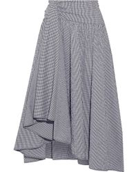 Rosie Assoulin - Asymmetric Draped Gingham Seersucker Midi Skirt - Lyst