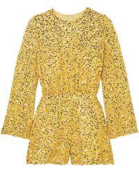 Jenny Packham Sequined Chiffon Playsuit - Yellow