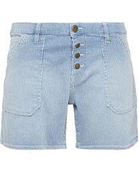Ba&sh Raja Striped Denim Shorts Light Blue
