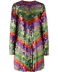 Sara Battaglia - Sequined Tulle Mini Dress - Lyst