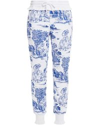 Moschino Ruffle-trimmed Printed French Cotton-terry Track Trousers - White