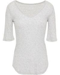 Majestic Filatures Mélange Ribbed Jersey Top Light Grey