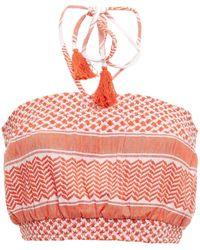 Cecilie Copenhagen Cecilie Copenhagen Priscilla Cropped Shirred Cotton-jacquard Halterneck Top - Multicolor