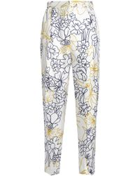 ROKSANDA - Printed Silk And Cotton-blend Twill Tapered Trousers - Lyst