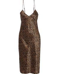 Nili Lotan Short Cami Printed Silk-charmeuse Slip Dress Animal-print - Braun