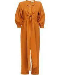 Nicholas Medina Cropped Tie-front Linen Jumpsuit - Orange