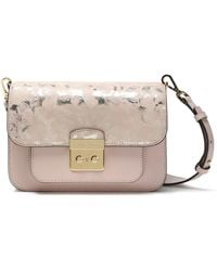 be7bacc5a8c9 Michael Kors - Woman Metallic Printed Leather Shoulder Bag Baby Pink - Lyst