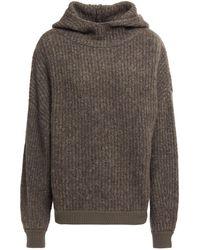 NAADAM Mélange Ribbed-knit Hoodie Dark Grey
