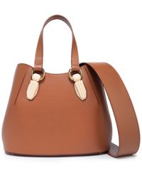 AEVHA Garnet Resin-trimmed Leather Tote - Brown