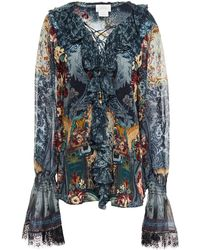 Camilla Lace-up Ruffled Embellished Printed Silk Crepe De Chine Blouse - Multicolour