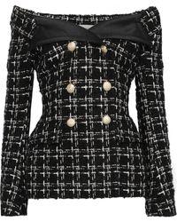 Faith Connexion Off-the-shoulder Checked Bouclé-tweed Jacket Black