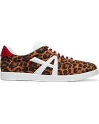 Aquazzura The A Leather-trimmed Leopard-print Suede Trainers Animal Print - Brown