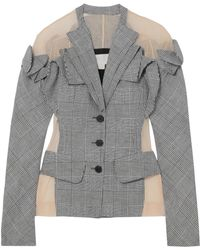 Antonio Berardi - Tulle-paneled Checked Wool, Linen And Silk-blend Blazer - Lyst