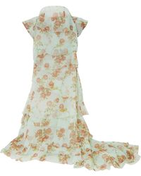 Brock Collection Bow-detailed Tiered Floral-print Silk-organza Maxi Skirt - Multicolour