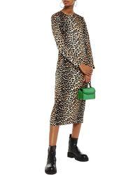Ganni - Leopard-print Stretch-silk Satin Midi Dress Animal Print - Lyst