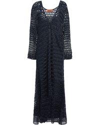 Missoni Wrap-effect Metallic Open-knit Midi Dress Navy - Blue
