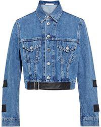Helmut Lang Cropped Leather-trimmed Denim Jacket Mid Denim - Blue