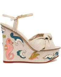 Charlotte Olympia - Knotted Woven Embellished Linen Wedge Sandals - Lyst