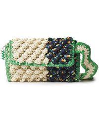 M Missoni Pompom-embellished Faux Raffia-paneled Crocheted Shoulder Bag - Green