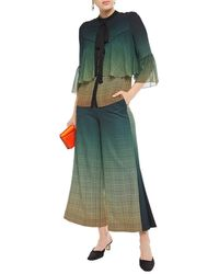 Mary Katrantzou Dégradé Houndstooth Twill Wide-leg Trousers - Green