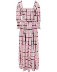 Ganni Shirred Printed Cotton And Silk-blend Maxi Dress Pastel Pink